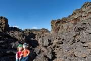 Wir in der Nähe des Kraters in Pali Aike
