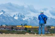Blick vom Flughafen von Ushuaia zu den Bergen